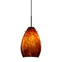 Besa Lighting Pera 1 Light Bronze Pendant Ceiling Light in Amber Cloud Glass