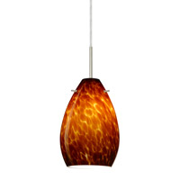 Pera 1 Light Satin Nickel Pendant Ceiling Light in Amber Cloud Glass