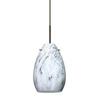 Besa Lighting Pera 1 Light Bronze Pendant Ceiling Light in Marble Grigio Glass