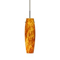 Besa Lighting 1BT-412118-BR Tu Tu 1 Light Bronze Pendant Ceiling Light in Amber Cloud Glass