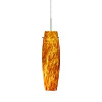 Besa Lighting 1BT-412118-SN Tu Tu 1 Light Satin Nickel Pendant Ceiling Light in Amber Cloud Glass