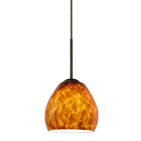 Besa Lighting 1BT-412218-BR Bolla 1 Light Bronze Pendant Ceiling Light in Amber Cloud Glass Incandescent