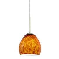 Besa Lighting 1BT-412218-LED-SN Bolla LED Satin Nickel Pendant Ceiling Light in Amber Cloud Glass