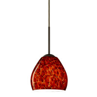Besa Lighting 1BT-412241-BR Bolla 1 Light Bronze Pendant Ceiling Light in Garnet Glass Incandescent