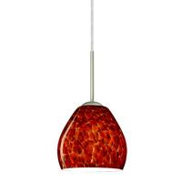 Besa Lighting 1BT-412241-LED-SN Bolla LED Satin Nickel Pendant Ceiling Light in Garnet Glass