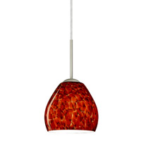 Bolla 1 Light Satin Nickel Pendant Ceiling Light in Garnet Glass, Incandescent