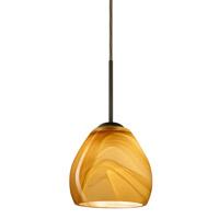 Besa Lighting 1BT-4122HN-BR Bolla 1 Light Bronze Pendant Ceiling Light in Honey Glass Incandescent
