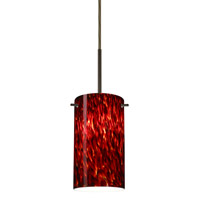 Besa Lighting Stilo LED Bronze Pendant Ceiling Light in Garnet Glass