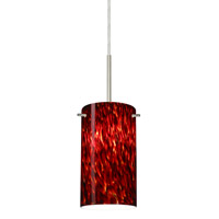Besa Lighting Stilo 1 Light Satin Nickel Pendant Ceiling Light in Garnet Glass Halogen