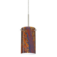 Besa Lighting Stilo 1 Light Satin Nickel Pendant Ceiling Light in Ceylon Glass Halogen