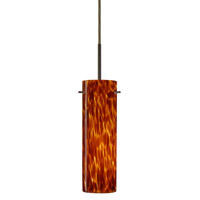Besa Lighting 1BT-493018-BR Copa 1 Light Bronze Pendant Ceiling Light in Amber Cloud Glass Halogen