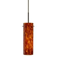 Besa Lighting 1BT-493018-LED-BR Copa LED Bronze Pendant Ceiling Light in Amber Cloud Glass