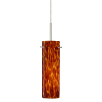 Besa Lighting 1BT-493018-LED-SN Copa LED Satin Nickel Pendant Ceiling Light in Amber Cloud Glass