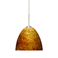 Besa Lighting 1BT-757218-LED-SN Sasha Ii LED Satin Nickel Pendant Ceiling Light in Amber Cloud Glass