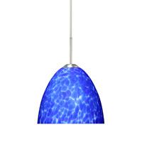 Besa Lighting 1BT-757286-SN Sasha Ii 1 Light Satin Nickel Pendant Ceiling Light in Blue Cloud Glass Halogen