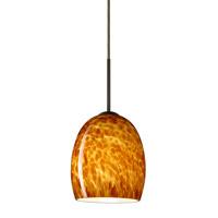 Besa Lighting 1JT-169718-BR Lucia 1 Light Bronze Pendant Ceiling Light in Amber Cloud Glass Incandescent