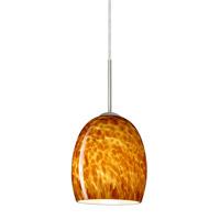 Besa Lighting 1JT-169718-LED-SN Lucia LED Satin Nickel Pendant Ceiling Light in Amber Cloud Glass