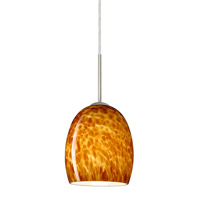 Besa Lighting 1JT-169718-SN Lucia 1 Light Satin Nickel Pendant Ceiling Light in Amber Cloud Glass Incandescent
