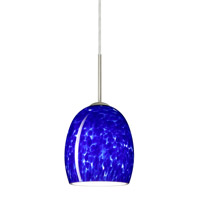 Besa Lighting 1JT-169786-SN Lucia 1 Light Satin Nickel Pendant Ceiling Light in Blue Cloud Glass Incandescent