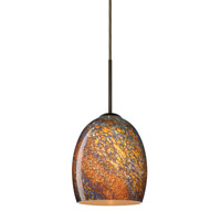 Besa Lighting 1JT-1697CE-LED-BR Lucia LED Bronze Pendant Ceiling Light in Ceylon Glass
