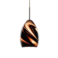 Besa Lighting 1JT-1720SK-LED-BR Euka LED Bronze Pendant Ceiling Light in Smoke Twist Glass