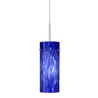 Besa Lighting Stilo 1 Light Satin Nickel Pendant Ceiling Light in Blue Cloud Glass Halogen