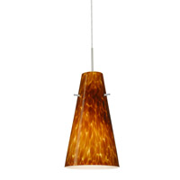 Cierro LED Satin Nickel Pendant Ceiling Light in Amber Cloud Glass