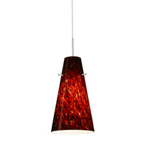 Cierro LED Satin Nickel Pendant Ceiling Light in Garnet Glass