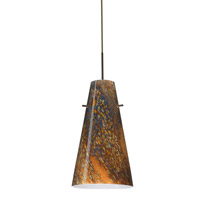 Cierro 1 Light Bronze Pendant Ceiling Light in Ceylon Glass, Incandescent