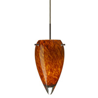 Juli LED 6 inch Bronze Pendant Ceiling Light in Amber Cloud Glass