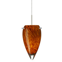 Juli LED 6 inch Satin Nickel Pendant Ceiling Light in Amber Cloud Glass