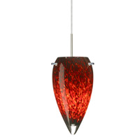 Besa Lighting 1JT-412541-LED-SN Juli LED Satin Nickel Pendant Ceiling Light in Garnet Glass