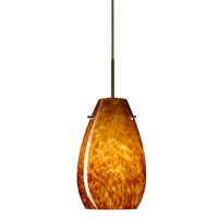 Besa Lighting Pera 1 Light Bronze Pendant Ceiling Light in Amber Cloud Glass Incandescent