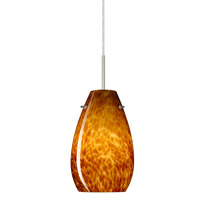 Besa Lighting Pera 1 Light Satin Nickel Pendant Ceiling Light in Amber Cloud Glass Incandescent