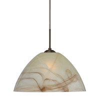 Tessa 1 Light Bronze Pendant Ceiling Light in Mocha Glass, Incandescent