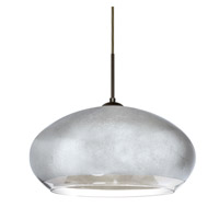 Besa Lighting Brio LED Bronze Pendant Ceiling Light in Silver Foil Glass