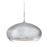 Besa Lighting Brio 1 Light Satin Nickel Pendant Ceiling Light in Silver Foil Glass Halogen