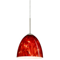 Besa Lighting 1JT-447041-SN Vila 1 Light Satin Nickel Pendant Ceiling Light in Garnet Glass Incandescent