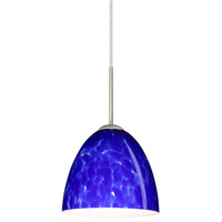 Besa Lighting 1JT-447086-SN Vila 1 Light Satin Nickel Pendant Ceiling Light in Blue Cloud Glass Incandescent