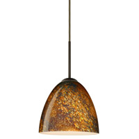 Besa Lighting 1JT-4470CE-BR Vila 1 Light Bronze Pendant Ceiling Light in Ceylon Glass Incandescent