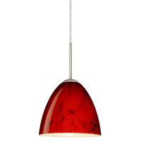 Besa Lighting 1JT-4470MA-SN Vila 1 Light Satin Nickel Pendant Ceiling Light in Magma Glass Incandescent