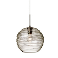 Wave 1 Light Satin Nickel Pendant Ceiling Light in Smoke Wave Glass