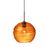 Wave 1 Light Bronze Pendant Ceiling Light in Amber Wave Glass