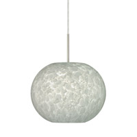 Besa Lighting 1JT-477619-SN Luna 1 Light Satin Nickel Pendant Ceiling Light in Carrera Glass Incandescent