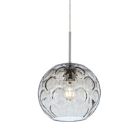 Bombay 1 Light Satin Nickel Pendant Ceiling Light in Clear Glass