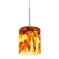 Besa Lighting Falla LED Satin Nickel Pendant Ceiling Light in Coffee Glass