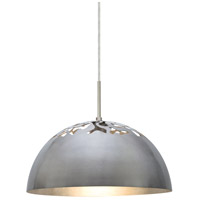 Gordy 1 Light Satin Nickel Cord Pendant Ceiling Light in Incandescent, Silver Foil Satin Nickel