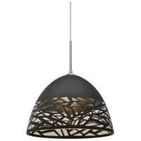 Kiev 1 Light Satin Nickel Cord Pendant Ceiling Light in Incandescent, Black Kiev