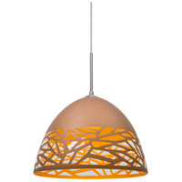 Kiev 1 Light Satin Nickel Cord Pendant Ceiling Light in Copper Kiev, Incandescent