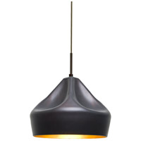 Lotus LED Bronze Cord Pendant Ceiling Light in Gold Foil Glass